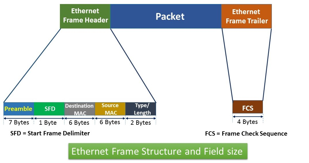 ethernet frame strucutre and field size